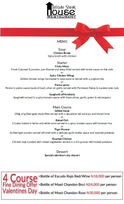 Talindo Vals Day Menu